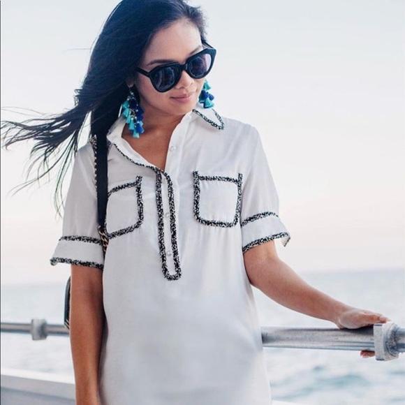 New Mini Dress With White With Tweed Trim